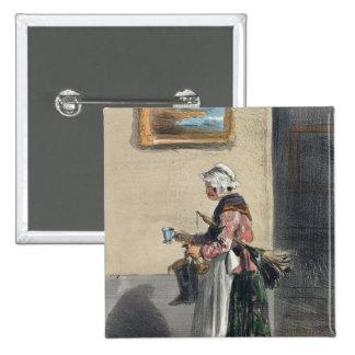 The Cleaning Lady, from 'Les Femmes de Paris' Button