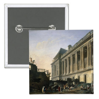 The Clearing of the Louvre colonnade, 1764 2 Inch Square Button