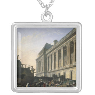 The Clearing of the Louvre colonnade, 1764 Silver Plated Necklace