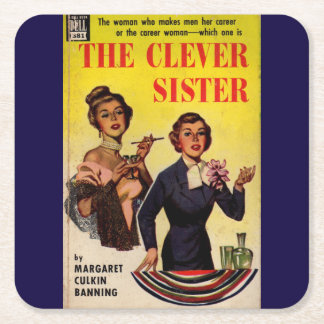The Clever Sister 1950s pulp novel cover Square Paper Coaster