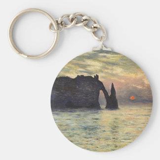 The Cliff, Etretat, Sunset by Claude Monet Basic Round Button Keychain