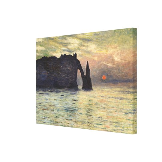 The Cliff Etretat, Sunset by Claude Monet Canvas Print