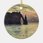 The Cliff Etretat, Sunset by Claude Monet Ceramic Ornament