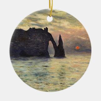 The Cliff Etretat, Sunset by Claude Monet Ceramic Ornament