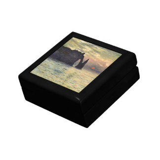 The Cliff Etretat, Sunset by Claude Monet Jewelry Box