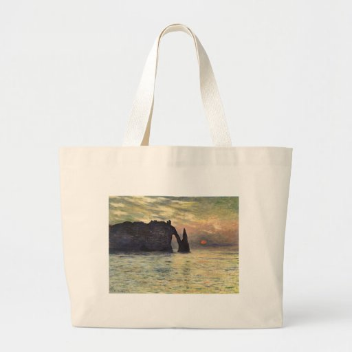 The Cliff Etretat, Sunset by Claude Monet Large Tote Bag