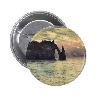 The Cliff Etretat, Sunset by Claude Monet Pinback Button