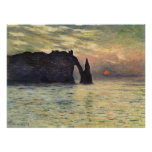 The Cliff, Etretat, Sunset by Claude Monet Poster