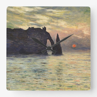 The Cliff Etretat, Sunset by Claude Monet Square Wall Clock