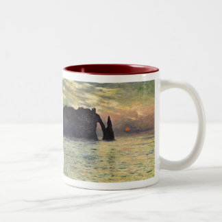 The Cliff Etretat, Sunset by Claude Monet Two-Tone Coffee Mug