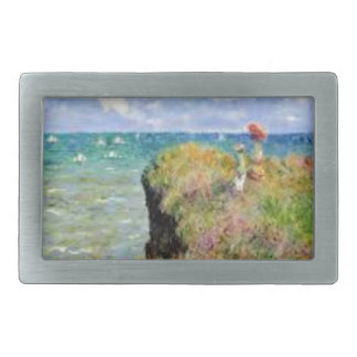 The cliff of Pourville of Claude Monet Rectangular Belt Buckle