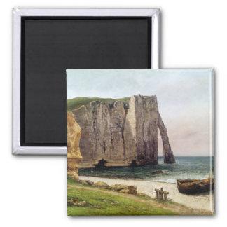 The Cliffs at Etretat, 1869 2 Inch Square Magnet