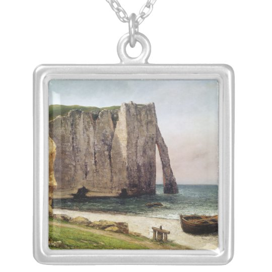 The Cliffs at Etretat, 1869 Silver Plated Necklace