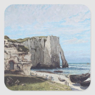 The Cliffs at Etretat after the storm, 1870 Square Stickers
