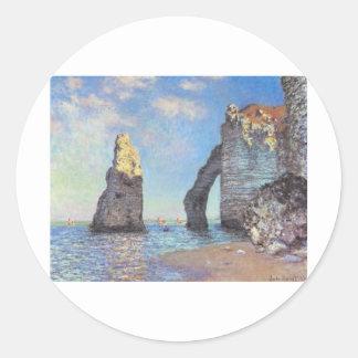 The Cliffs at Etretat - Claude Monet Round Stickers
