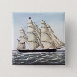 """The Clipper Ship """"Flying Cloud"""" Pinback Button"""