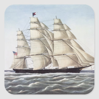 """The Clipper Ship """"Flying Cloud"""" Square Sticker"""