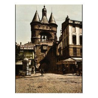 The clock gate, Bordeaux, France vintage Photochro Postcard