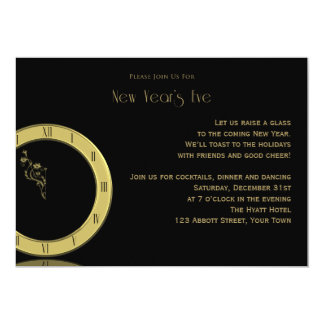 The Clock Strikes Midnight New Years Eve Party 5x7 Paper Invitation Card