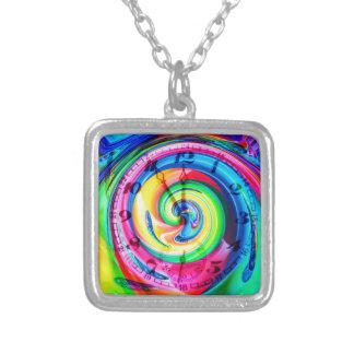 The clock ticks square pendant necklace