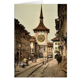 The clock tower, Berne, Town, Switzerland vintage Greeting Card
