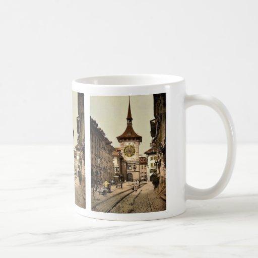 The clock tower, Berne, Town, Switzerland vintage Classic White Coffee Mug