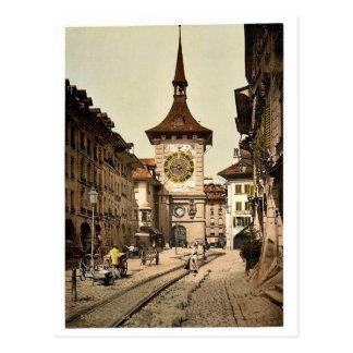 The clock tower, Berne, Town, Switzerland vintage Postcard