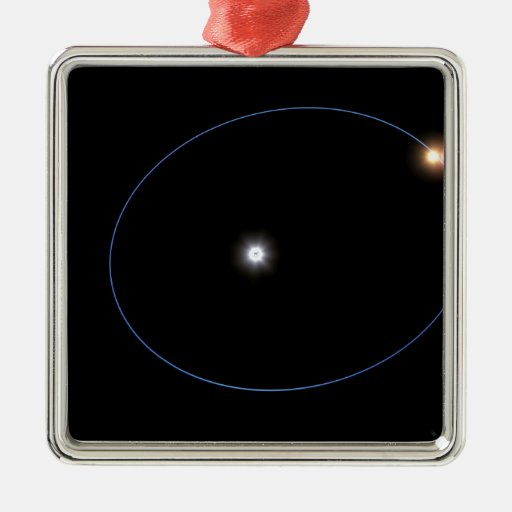 The clockwork-like orbits of a triple-star syst square metal christmas ornament
