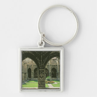 The Cloister Garden Silver-Colored Square Keychain