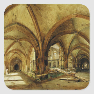 The Cloisters of St. Wandrille, c.1825-30 Square Sticker