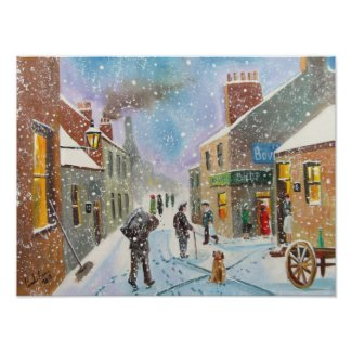 the coal man winter British street scene Poster