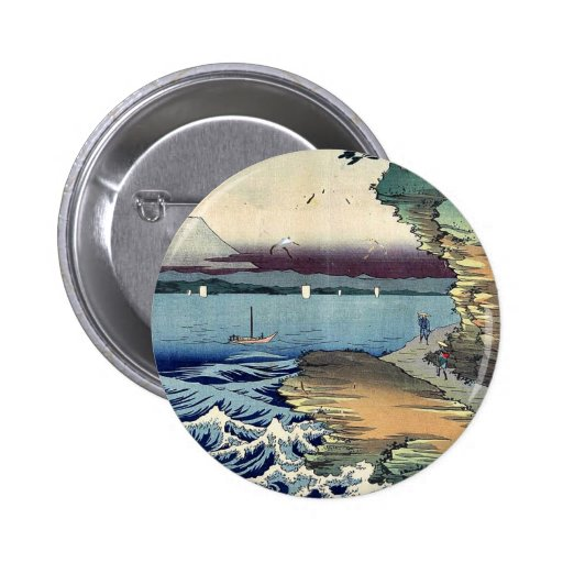 The coast at Hota in Boshu by Ando, Hiroshige Ukiy Button