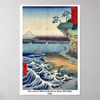 The coast at Hota in Boshu by Ando, Hiroshige Ukiy Poster
