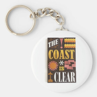 The coast is clear basic round button keychain