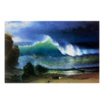 The coast of the Turquoise sea by Bierstadt Poster