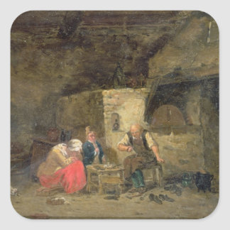 The Cobbler's (oil on panel) (pair of 134462) Square Sticker