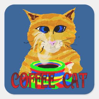 The Coffee Cat Square Sticker
