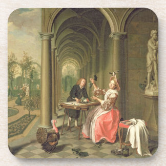 The Colonnade of a Country House with a Lady seate Beverage Coaster
