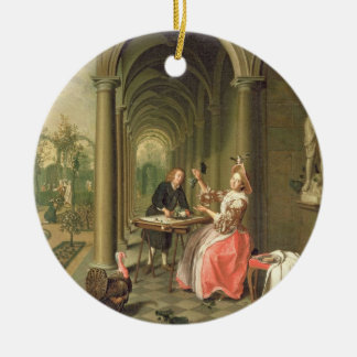 The Colonnade of a Country House with a Lady seate Ceramic Ornament