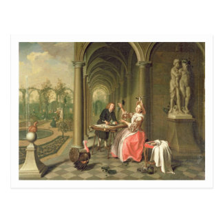 The Colonnade of a Country House with a Lady seate Postcard