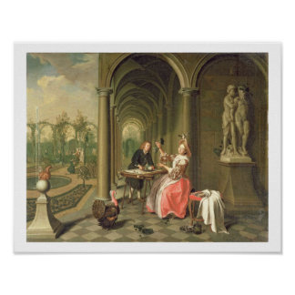 The Colonnade of a Country House with a Lady seate Poster