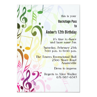 The Color Of Music Invitation at Zazzle