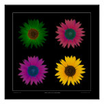 """""""The Color of Sunflowers"""" Designer Poster on Black"""