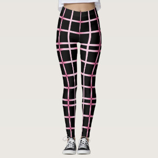 The Color Pink Outlines Black Squares Leggings