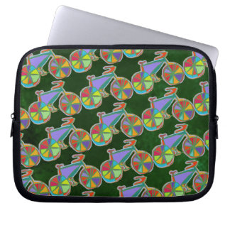the colorful bike pattern laptop sleeve