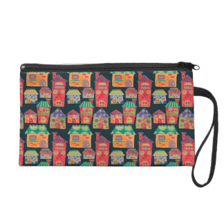 The Colorful Houses Pattern Wristlets