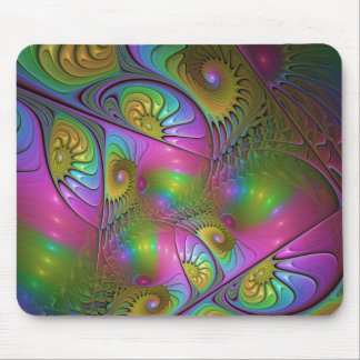 The Colorful Luminous Modern Abstract Fractal Art Mouse Pad