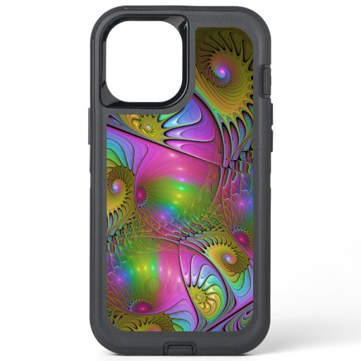 The Colorful Luminous Modern Abstract Fractal Art OtterBox Defender iPhone 12 Pro Max Case