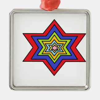 The Colorful star Square Metal Christmas Ornament