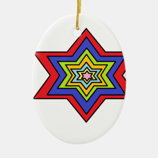 The Colorful star Double-Sided Oval Ceramic Christmas Ornament